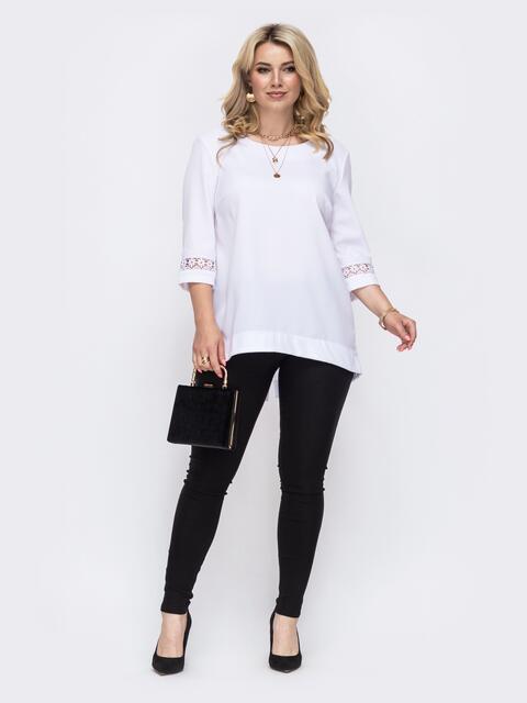 Комплект большого размера из удлиненной блузки и брюк белый 49846, фото 1