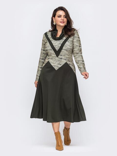Платье батал приталенного силуэта цвета хаки  51283, фото 1