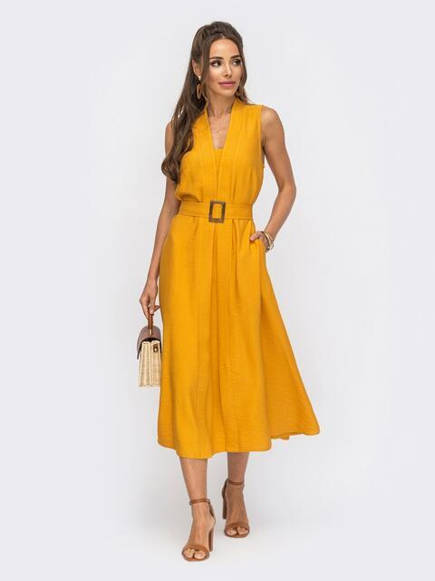 Платье без рукавов из льна жатки с V-образным вырезом желтое 53874, фото 1
