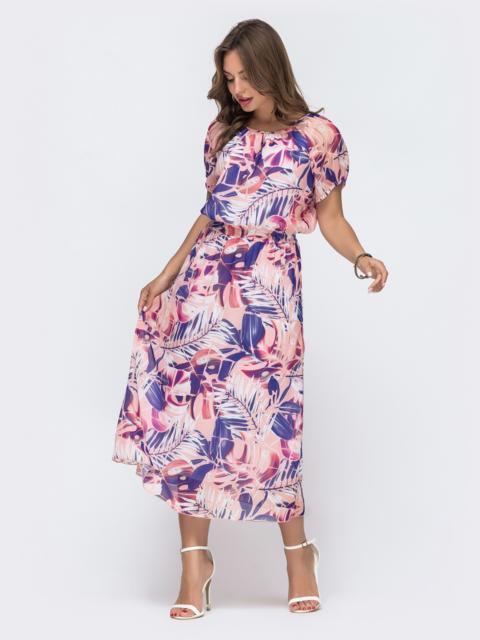 Платье с принтом и вафельной резинкой по талии розовое 48064, фото 1