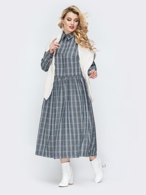 Серое платье батал в клетку с расклешенной юбкой - 44729, фото 1 – интернет-магазин Dressa