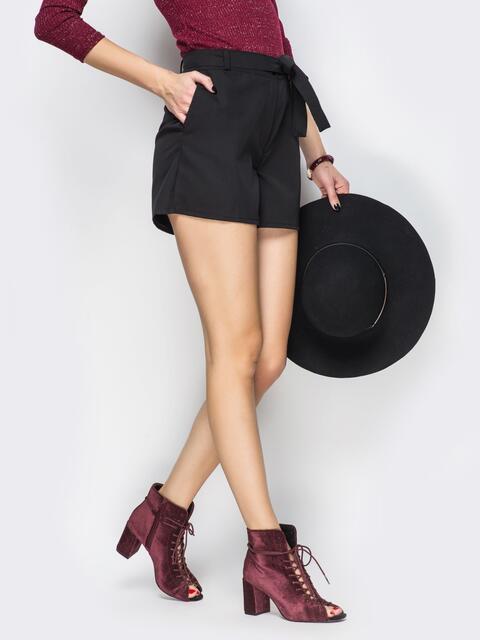 Шорты с карманами по бокам и поясом на талии - 14010, фото 1 – интернет-магазин Dressa