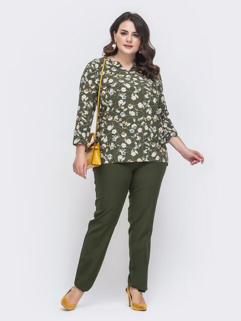 Брючный комплект батал с блузкой хаки - 46317, фото 1 – интернет-магазин Dressa