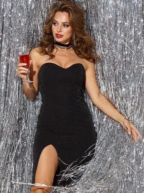Чёрное платье-бюстье из люрекса с разрезом сбоку - 42833, фото 1 – интернет-магазин Dressa