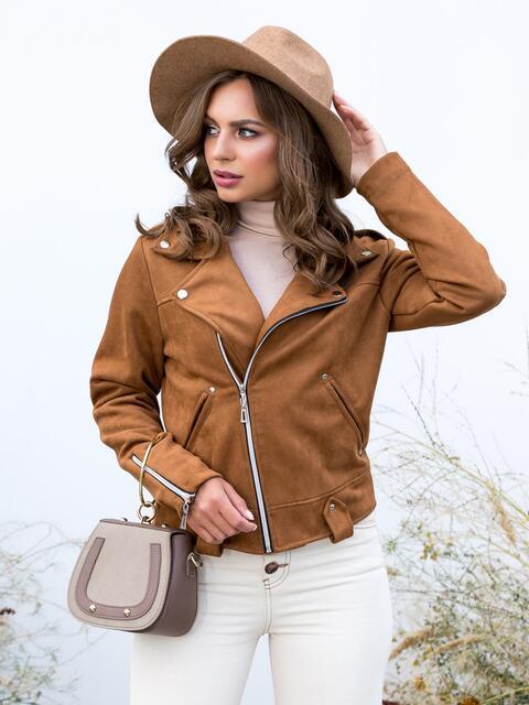 Куртка-косуха из замши коричневого цвета - 40664, фото 1 – интернет-магазин Dressa
