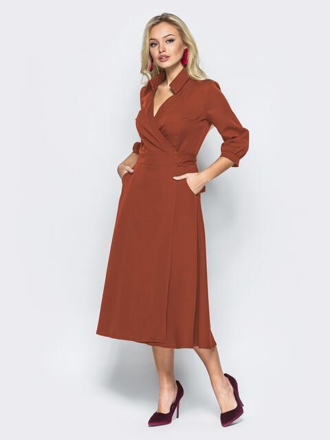 Платье-халат терракотового цвета с отложным воротником - 41949, фото 1 – интернет-магазин Dressa