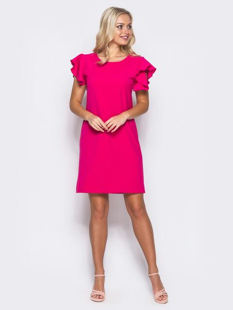 Платье полуприталенного силуэта с двойной оборкой на рукавах розовое 11382, фото 1