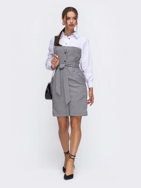 """Платье с узором """"гусиная лапка"""" и рубашечным верхом серое 50510, фото 1"""