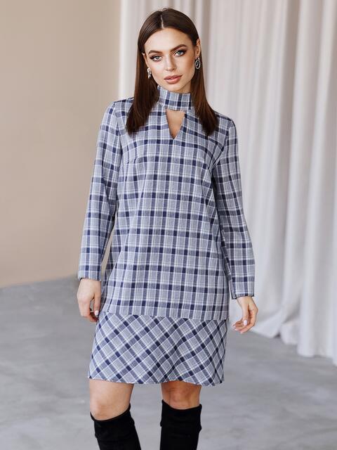 Платье-трапеция в клетку с фигурным вырезом синее 52836, фото 1