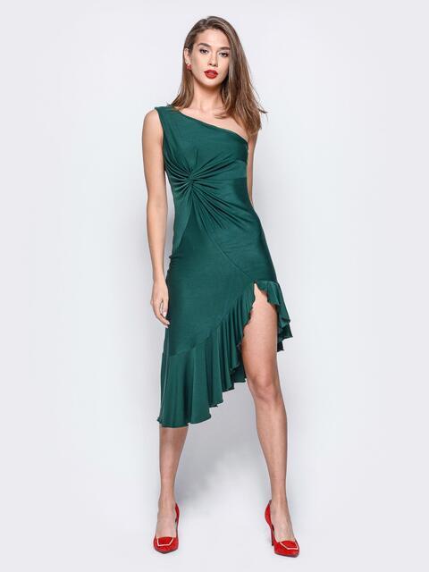 Платье зелёного цвета на одно плечо с ассиметричным низом - 17932, фото 1 – интернет-магазин Dressa