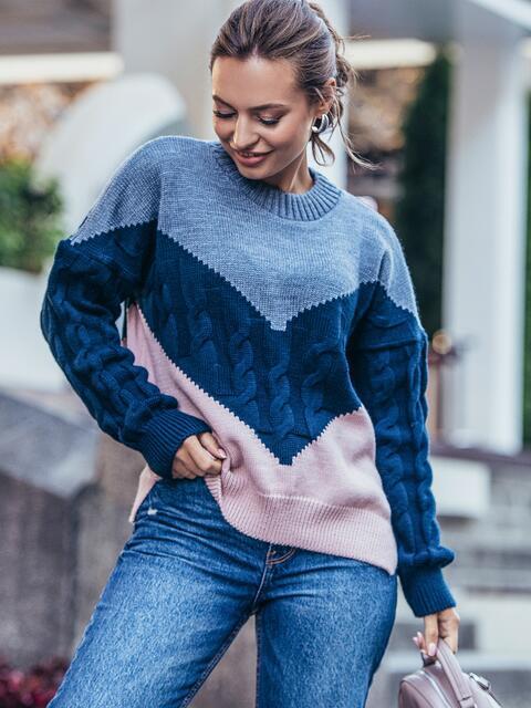 Розовый свитер из шерсти с акрилом в стиле oversize 50179, фото 1