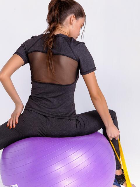 Спортивный комплект со вставками из сетки цвета графит - 44443, фото 1 – интернет-магазин Dressa