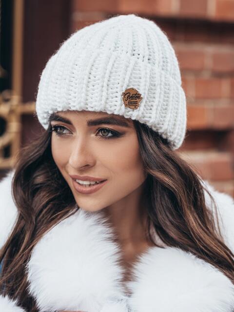 Белая шапка «резинка» с отворотом 15465, фото 1