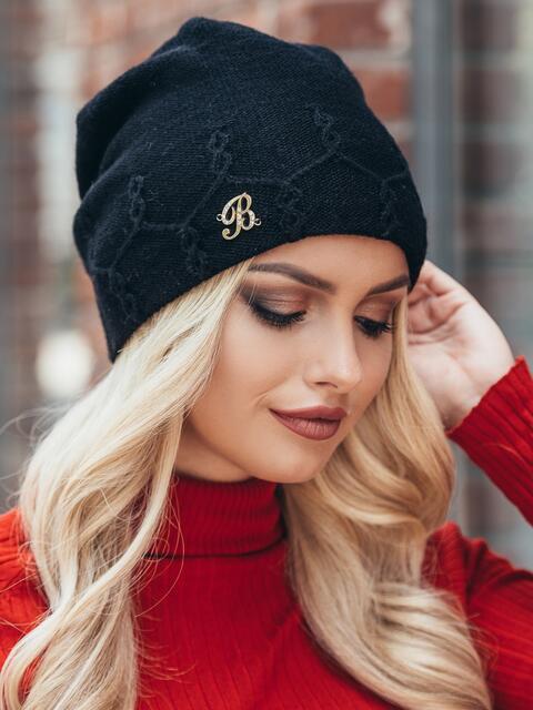 Черная лаконичная шапка с узором по краю - 15401, фото 2 – интернет-магазин Dressa
