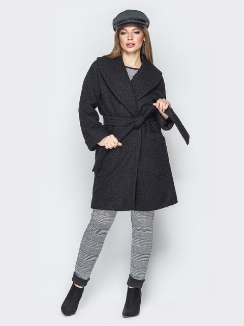 Чёрное пальто на запах с накладными карманами - 19408, фото 1 – интернет-магазин Dressa