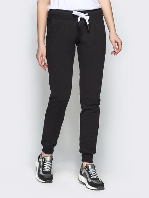 Чёрные брюки-джоггеры из двунитки с карманами 21891, фото 1