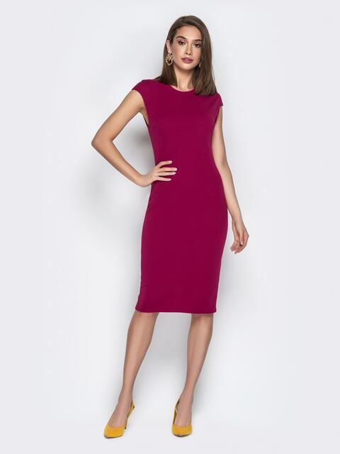 Классическое платье-футляр из креп-дайвинга бордовое - 21012, фото 1 – интернет-магазин Dressa