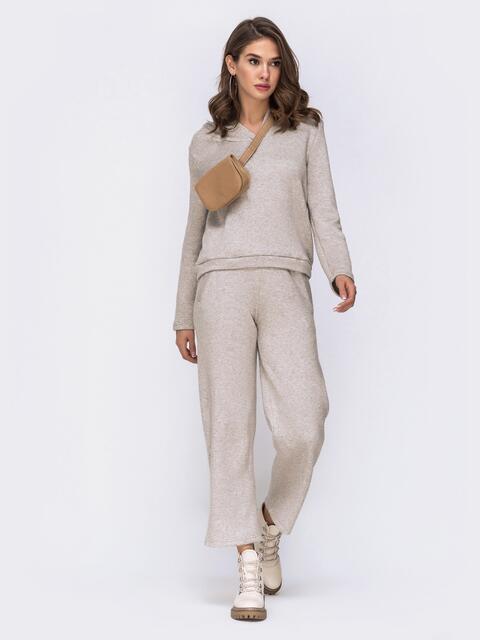 Комплект из ангоры с расклешенными штанами бежевый - 42458, фото 1 – интернет-магазин Dressa