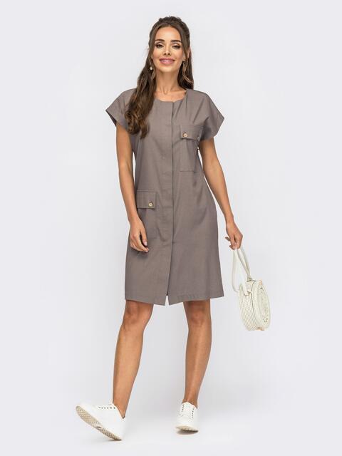 Платье из джинса на пуговицах со спущенным плечом коричневое 53844, фото 1