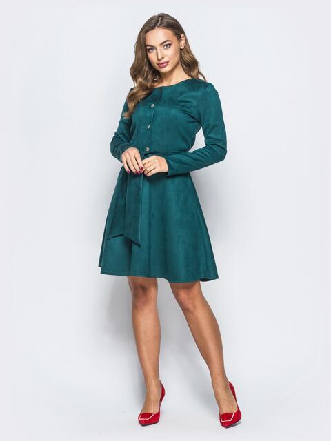 Платье из эко-замши с функциональными пуговицами зелёное - 17831, фото 1 – интернет-магазин Dressa