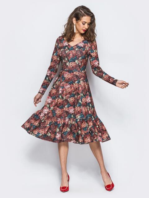 Платье с расклешенной юбкой и флористичным принтом - 17995, фото 1 – интернет-магазин Dressa