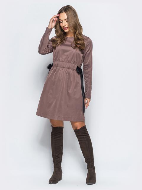 Платье с регулируемой резинкой на талии лиловое - 17833, фото 1 – интернет-магазин Dressa