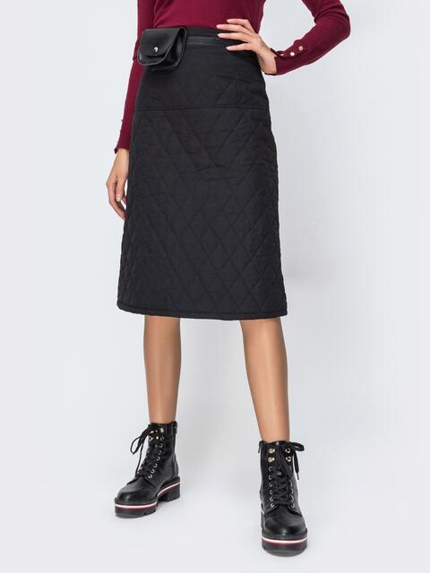 Стёганая юбка-миди чёрного цвета - 42470, фото 1 – интернет-магазин Dressa