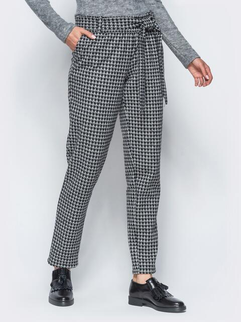 """Зауженные брюки в """"гусиную лапку"""" из полушерстяного трикотажа - 17826, фото 1 – интернет-магазин Dressa"""