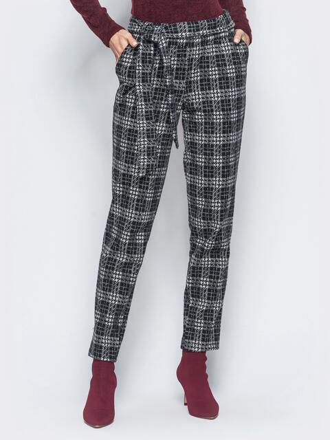 Зауженные брюки в крупную клетку из полушерстяного трикотажа - 17827, фото 1 – интернет-магазин Dressa