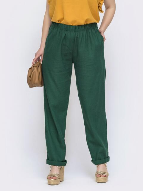 Зеленые батальные брюки из льна 46238, фото 1