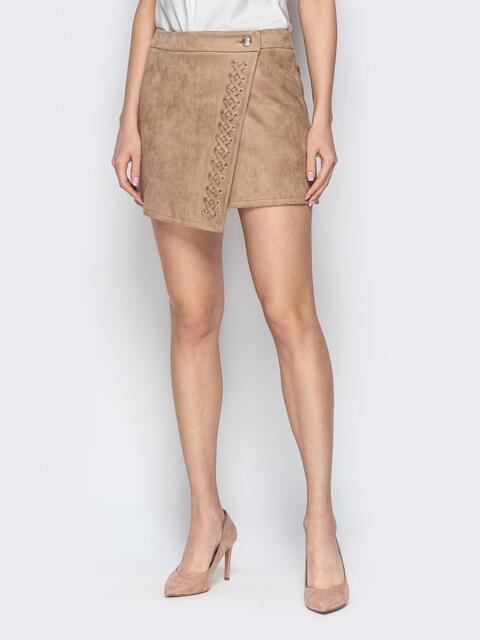 Асимметричная юбка-трапеция со шнуровкой бежевая - 20356, фото 1 – интернет-магазин Dressa