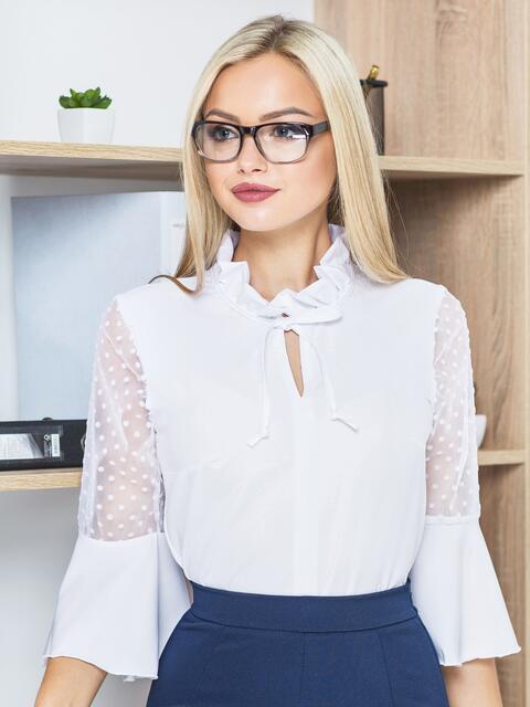 Блузка с завязкой на горловине и воланом на рукавах белая - 14179, фото 1 – интернет-магазин Dressa