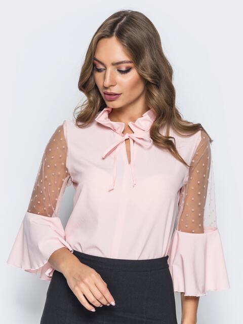 Блузка с завязкой на горловине и воланом на рукавах розовая - 14180, фото 1 – интернет-магазин Dressa