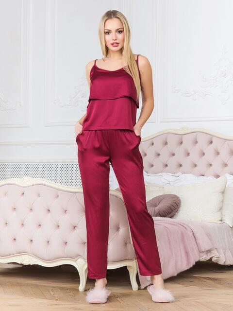 Бордовая пижама с воланом на топе и брюками - 18931, фото 1 – интернет-магазин Dressa