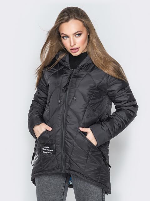Черная куртка с капюшоном и нашивками спереди - 20227, фото 1 – интернет-магазин Dressa