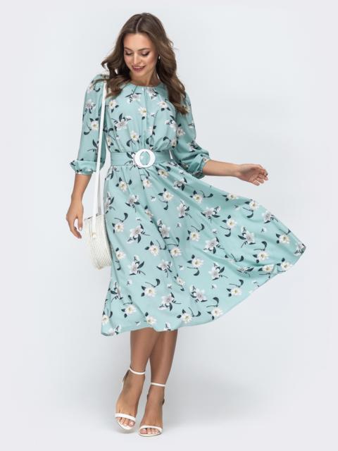 Голубое платье с принтом и резинкой по талии - 45851, фото 1 – интернет-магазин Dressa