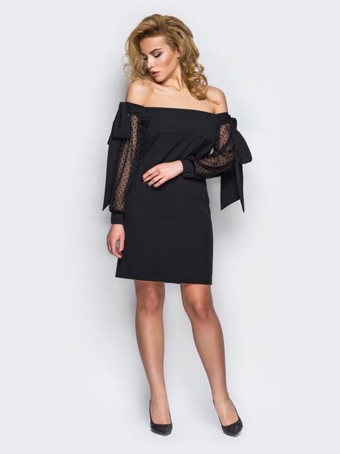 Короткое черное платье с рукавами в горошек - 10832, фото 1 – интернет-магазин Dressa
