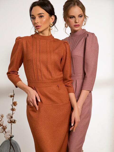 Оранжевое платье-футляр с прорезными карманами - 44233, фото 1 – интернет-магазин Dressa