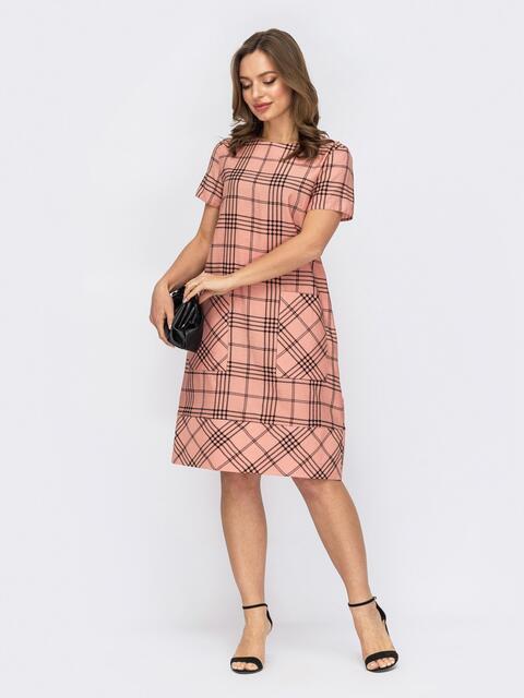 Платье из льна в клетку с накладными карманами розовое 53758, фото 1
