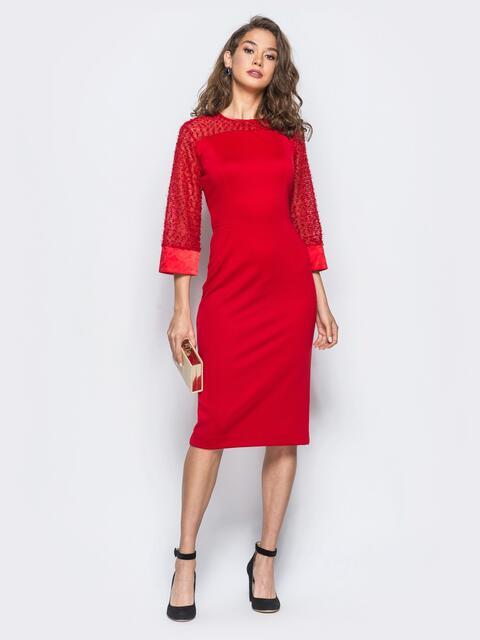 Платье красного цвета с манжетами из атласа 17965, фото 1