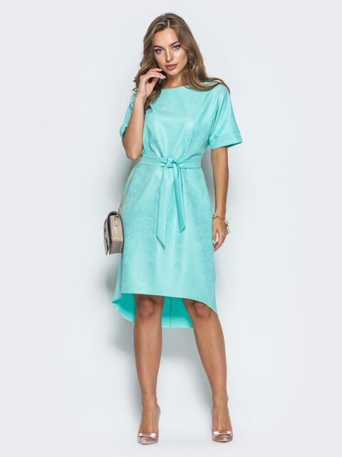 Платье с цельнокроенным рукавом и удлиненной спинкой бирюзовое - 14670, фото 1 – интернет-магазин Dressa