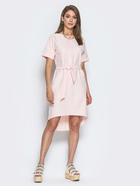 Платье с цельнокроенным рукавом и удлиненной спинкой розовое 14671, фото 1