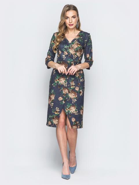 Серое платье на ложный запах с принтом - 19128, фото 1 – интернет-магазин Dressa