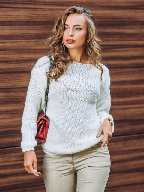 Свитер oversize мелкой вязки белый - 13057, фото 1 – интернет-магазин Dressa