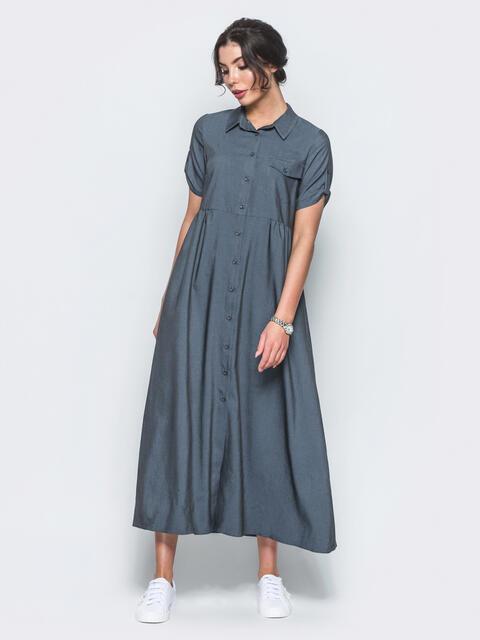 Тёмно-синее платье-рубашка из облегченного джинса 22115, фото 1