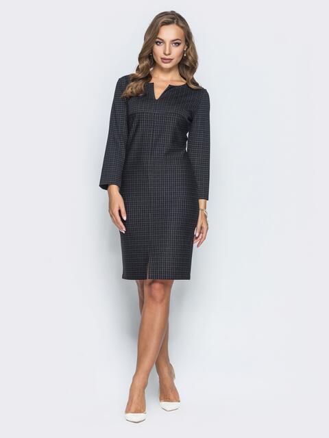 Трикотажное платье с фигурным вырезом горловины черное - 14651, фото 1 – интернет-магазин Dressa