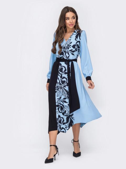 Голубое платье с принтом и асимметричным подолом 52966, фото 1