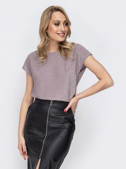 Блузка прямого кроя с люрексом бежевая - 45633, фото 1 – интернет-магазин Dressa