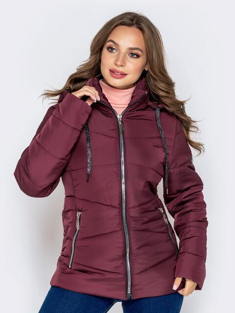 Бордовая куртка с воротником-стойкой и съёмным капюшоном 40630, фото 1