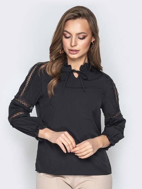 Чёрная блузка с фатиновыми вставками и воротником на завязках - 20784, фото 1 – интернет-магазин Dressa